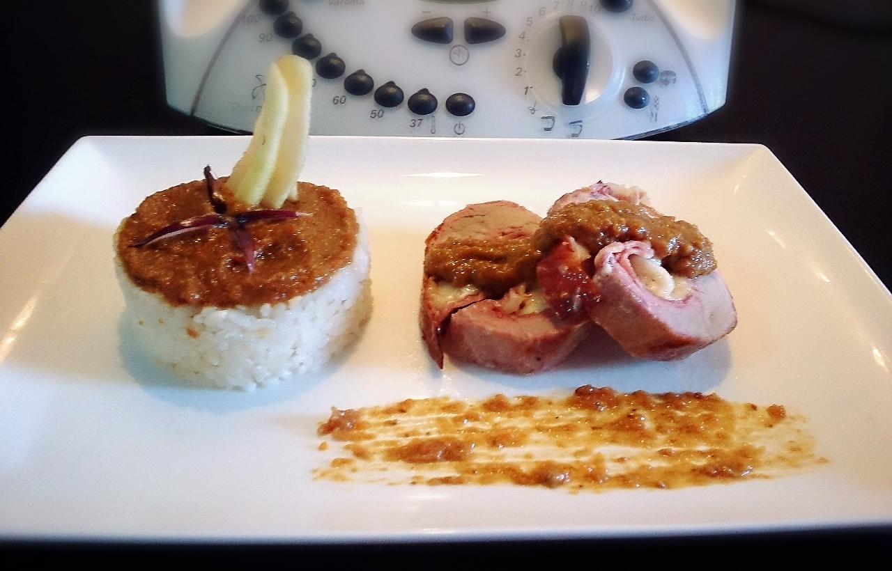 Solomillo de cerdo relleno con salsa pedro ximenez
