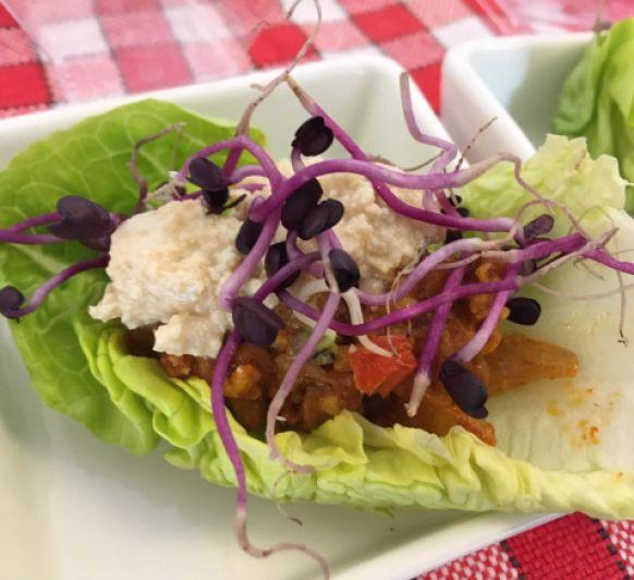 Tacos integrals de llenties amb dip de tofu amb Thermomix®