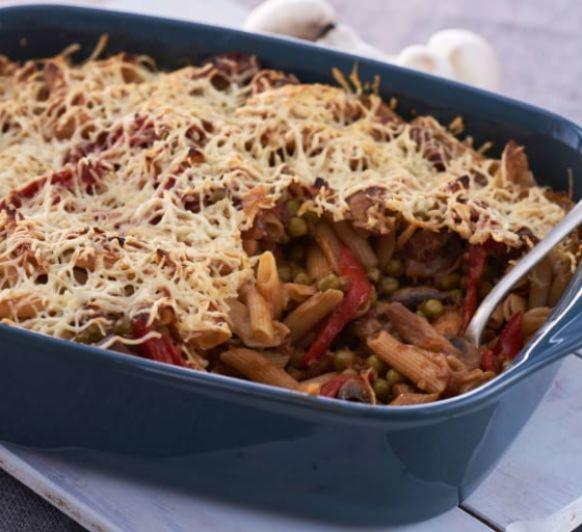 Como hacer pasta integral con champiñones, guisantes y pimientos del piquillo con Thermomix®