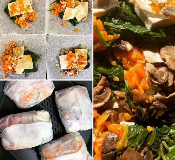 Papillots de tofu amb verduretes amb Thermomix®