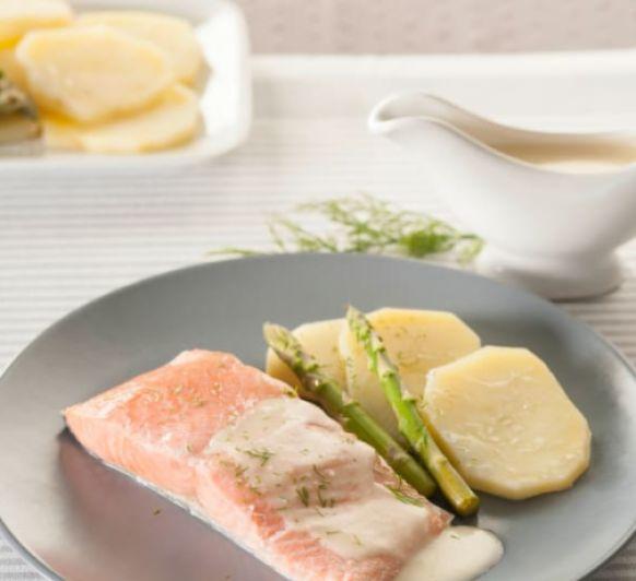 Como hacer salmón con salsa de queso manchego con Thermomix®