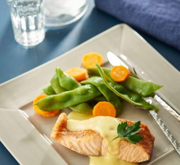 Como hacer salmón con salsa de mango, judías verdes y zanahorias con Thermomix®