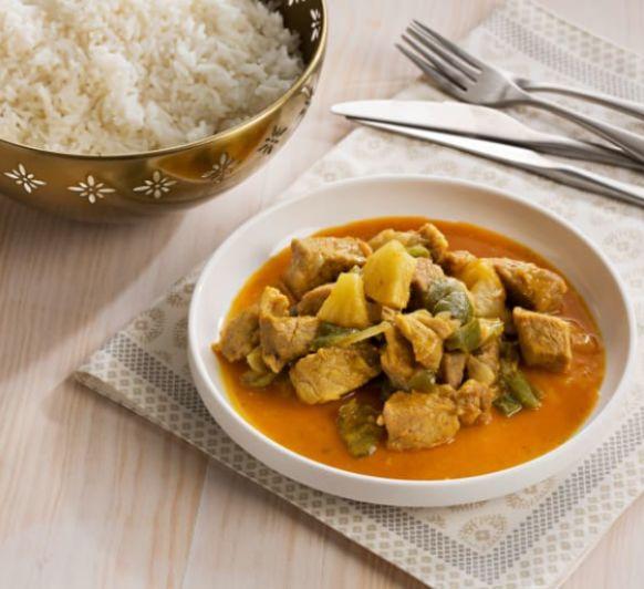 Com fer curry de porc i arrós blanc al vapor (India) amb Thermomix® / Como hacer curry de cerdo y arroz blanco al vapor (India) con Thermomix®