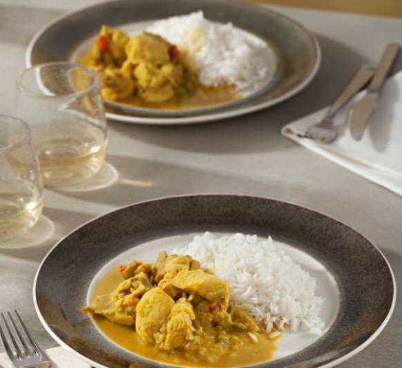 Como hacer curry picante de pollo al ron con arroz basmati con Thermomix®