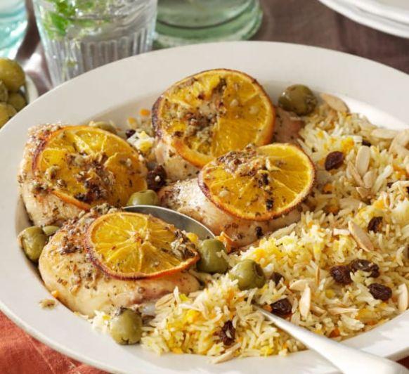 Como hacer contramuslos de pollo asados con especias a la naranja y arroz basmati con pasas con Thermomix®