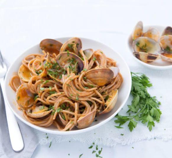 Como hacer espaguetis integrales con almejas con Thermomix®