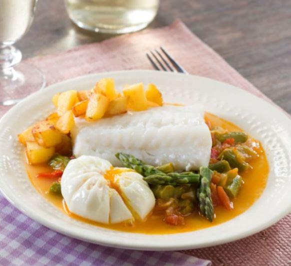 Como hacer bacalao con fritada de espárragos, huevos y patatascon Thermomix®